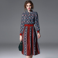 Natural Silk Bohemian Dresses For Women 2018 Spring Summer Contrasting Color Runway Fashion Knitted Sleeve Elegant