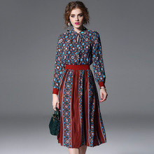 Natural Silk Bohemian Dresses For Women 2018 Spring Summer Contrasting Color Runway Fashion Knitted Sleeve Elegant Long Dress