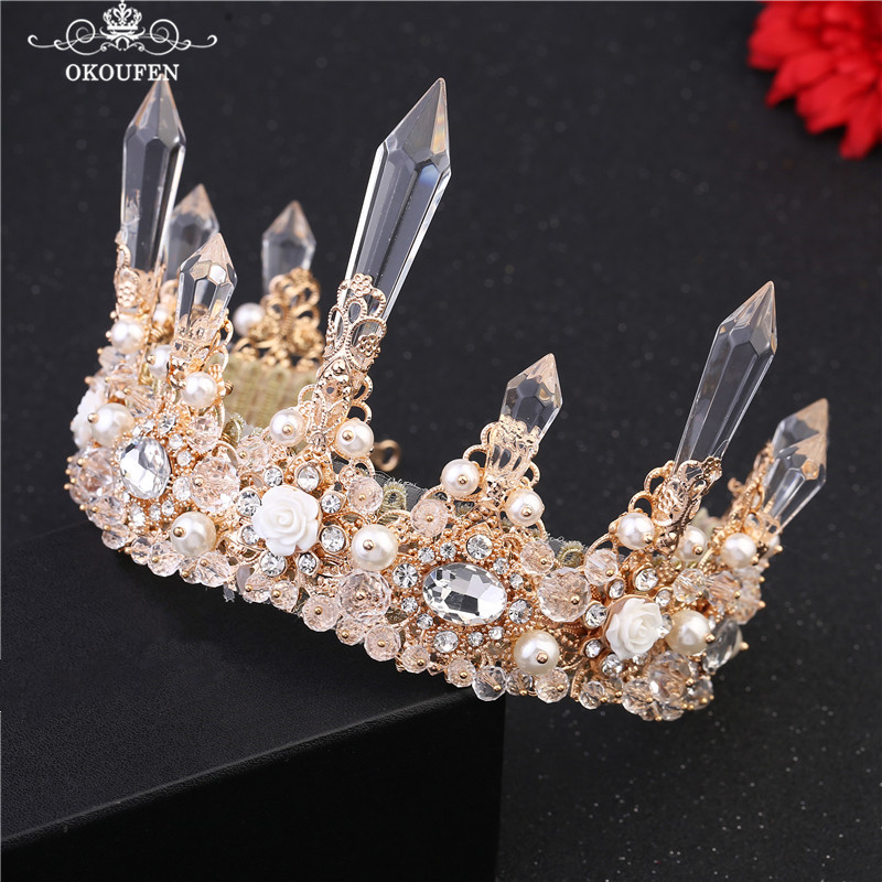 OKOUFEN Crystal Pillar Pearls Crowns Pageant Wedding Hair Accessories Birthday Gift Headbands Tiaras Gold Color Women Jewelry