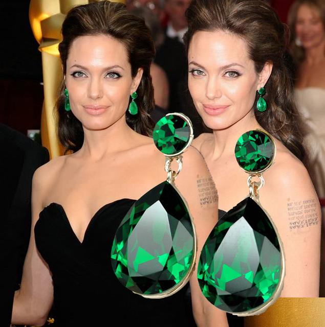 Exclusive! Celebrity Angelina Jolie inspiré intensément Cut vert émeraude cristal autrichien larme poire boucles d'oreilles livraison gratuite