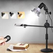 מתכוונן שולחן העבודה טלפון ירי סוגר Stand + בום זרוע + סופר מבריק 35W LED אור תמונה סטודיו ערכות עבור שולחן עבודה תמונה/וידאו