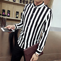 2017 New spring Fashion Brand Men Clothes Slim Fit Men Long Sleeve Shirt Men stripe Cotton Casual Men Shirt Social Plus Size