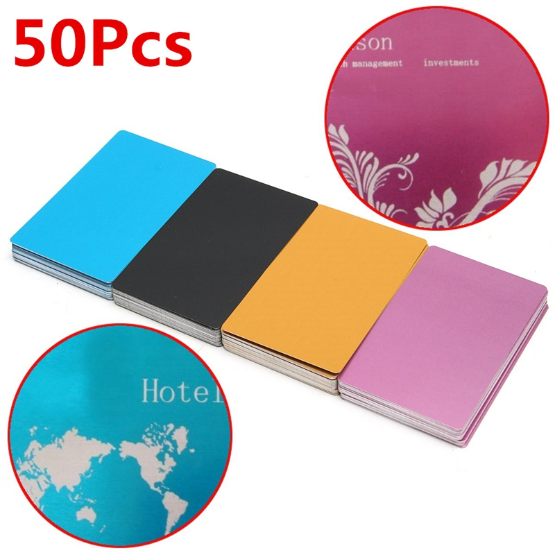 50Pcs 85x54x0.17MM Colorful aluminum alloy Plate Laser Marking Business Card Blank Metal THIN-Style DIY Craft Supplies Brand New50Pcs 85x54x0.17MM Colorful aluminum alloy Plate Laser Marking Business Card Blank Metal THIN-Style DIY Craft Supplies Brand New