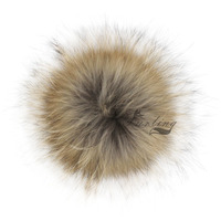 13CM 5.1inch Real Raccoon Fur Pompoms with Press Button for Beanie Hats Caps Fur Pompoms Real Fur Pompoms Ball