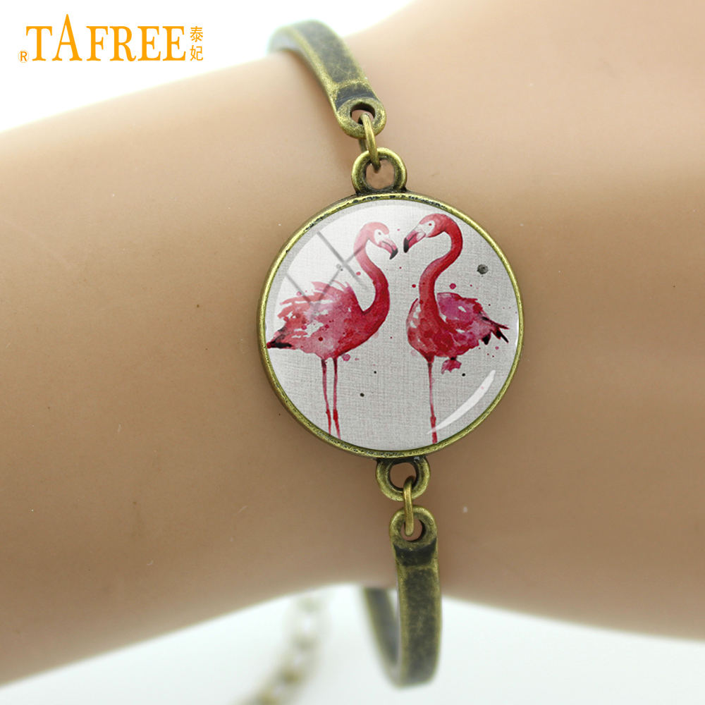 TAFREE Flamingo Bracelets fashion loving couple love bracelet two birds facing each other romantic high quality jewelry A571 ...