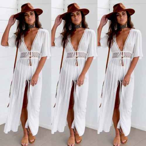 2019 Estate Pareo Beach Cover Up Donne tuniche per la spiaggia Manica Corta Con Scollo A V bianco vestito dalla spiaggia di Indossare Costumi Da Bagno Abiti cover Up