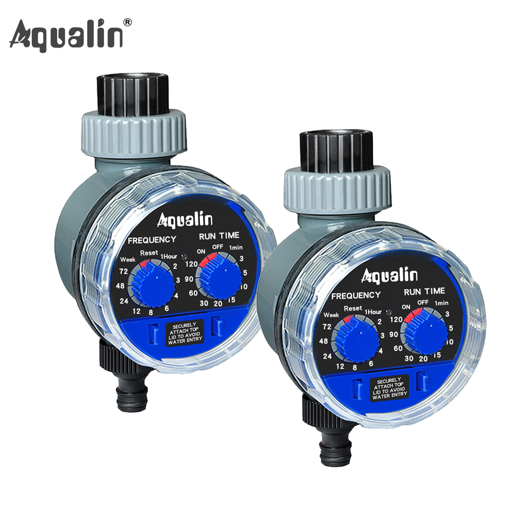 2pcs Aqualin Ball Valve Automatic Electronic Water Timer Home Garden Irrigation Controller Watering Timer System #21025-2