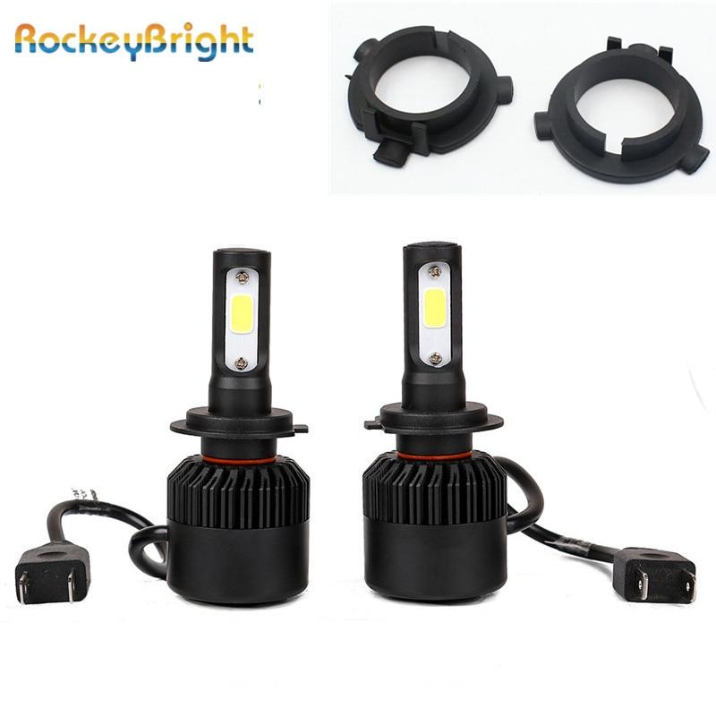 Rockeybright H7 LED headlight + adapter Base for Hyundai Veloster i30 low beam LED H7 Bulb Holder Adapter for KIA K4 K5 Sorento