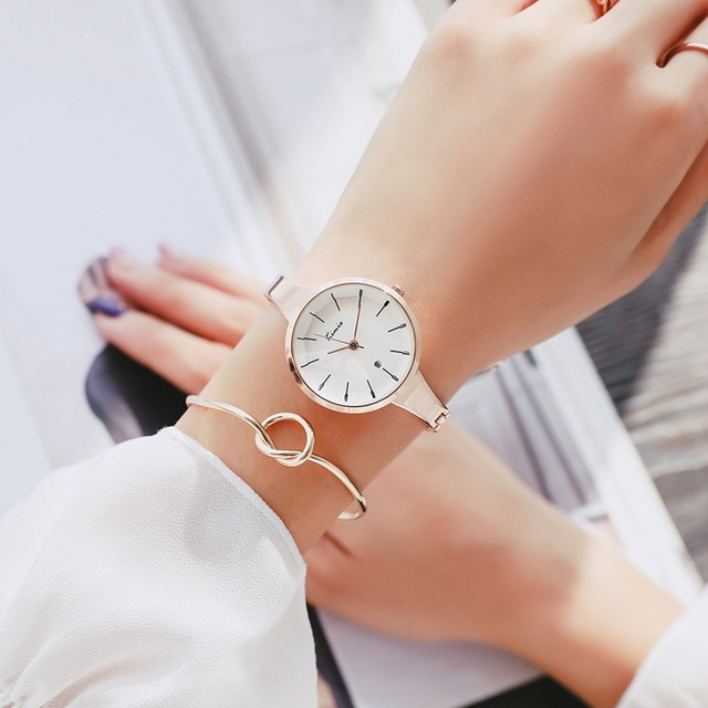 KIMIO Brand Women Rose Gold Waterproof Quartz Watches Simple Ladies Stainless Steel Bracelet Watch With Calendar Christmas gift