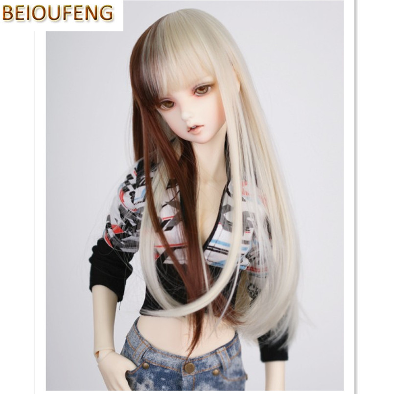 BEIOUFENG 1/3 1/4 BJD Wig High Temperature Wire Long Straight Doll Wigs for Dolls,Synthetic Doll Hair Accessories for Dolls wig refires bjd hair 25cm length black brown flaxen golden natrual color long straight wig hair for 1 3 1 4 bjd diy