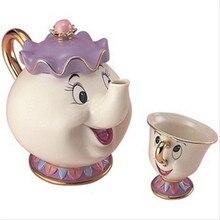 Schönheit Und Das Biest Tee-Set Frau Potts Chip Teekanne Becher Set Schöne Porzellan Kaffee Kreative Geschenk [1 Topf + 1 Tasse + 1 Zuckerdose]