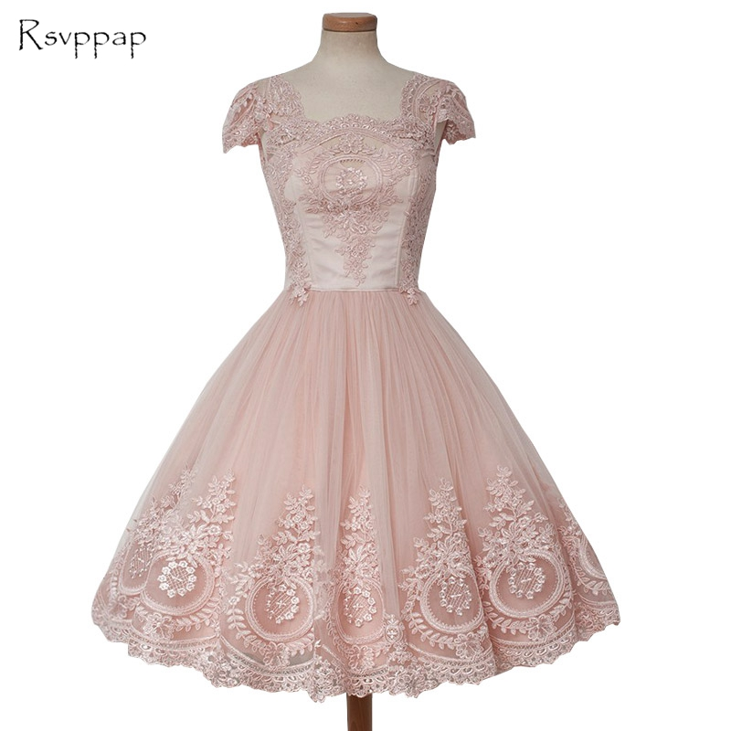 Gorgeous A-line Cap Sleeve Vintage Lace Short Mini Pink African   Prom     Dresses   2019
