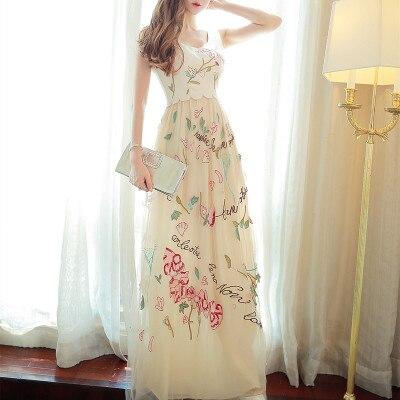 YiLin Kay New 2019 high quality summer fashion runway designer maxi dress women slim letter embroidery