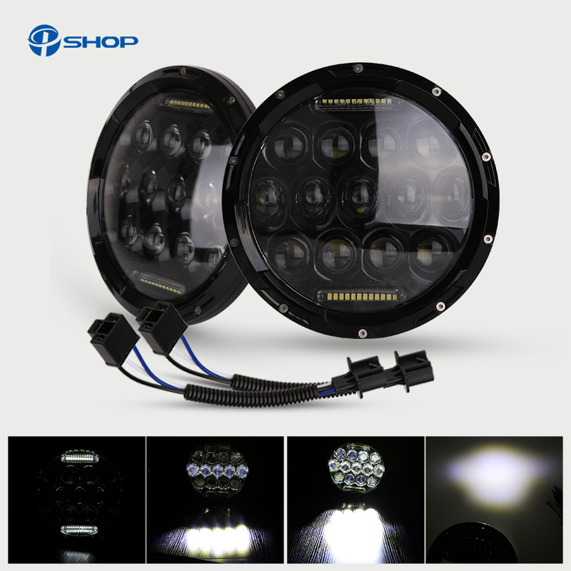 7inch 75w LED headlight for Jeep wrangler JK 4x4 led h7 headlights with H4/H13 Hi-LO beam for LADA NIVA 2pcs new design 7inch 78w hi lo beam headlamp 7 led headlight for wrangler round 78w led headlights with drl