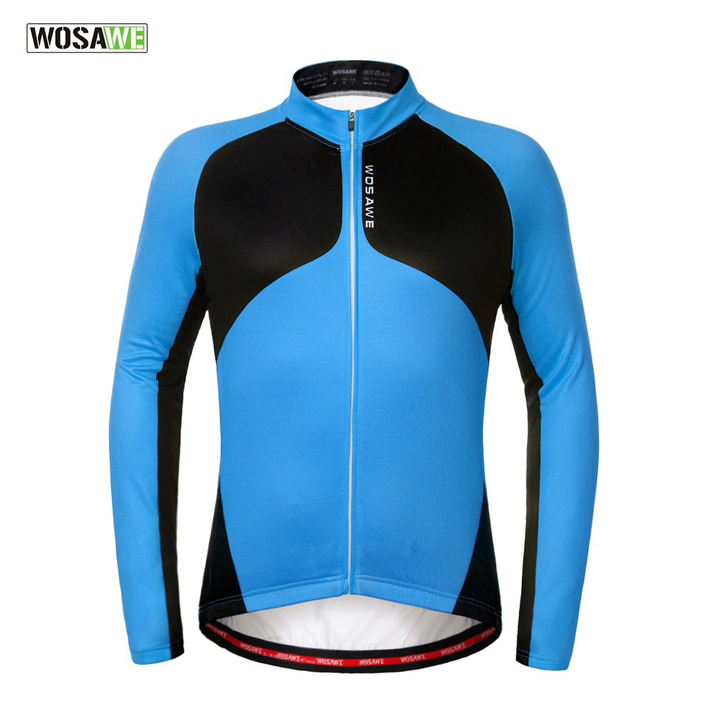 2017 WOSAWE Autumn Fleece Cycling Jersey Long Windproof Warmer MTB Bike Clothes Cycling Clothing Sports Thermal Coat wosawe outdoor sports windproof winter long sleeve cycling jacket unisex fleece thermal mtb riding bike jersey men s coat