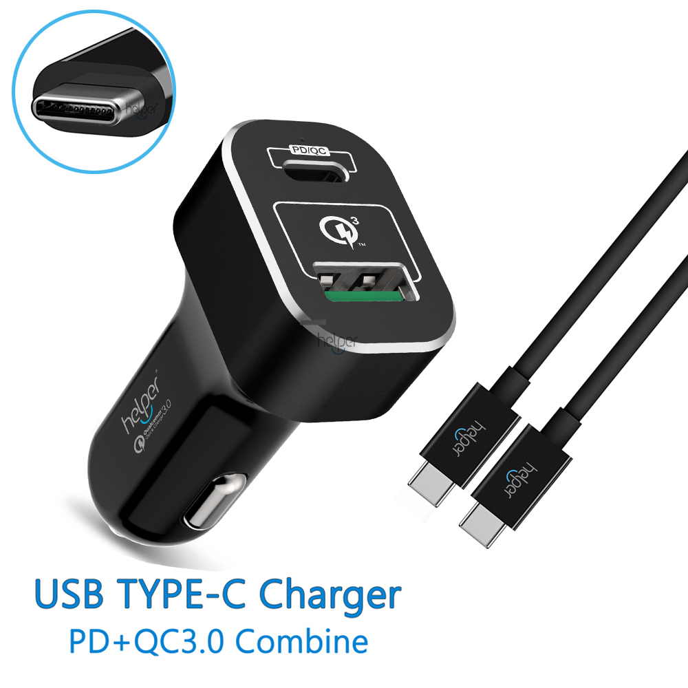 USB C PD Car Charger with Power Delivery 45W Quick Charge 3 0 USB C 18W