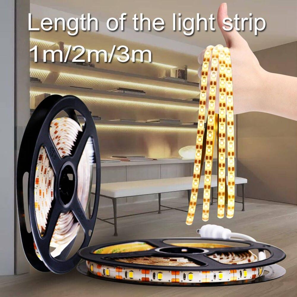 Wireless PIR Motion Sensor LED Strip Lamp 60 120 180leds Light Tape Closet Stairs Warm White/ White Household Emergency Lighting