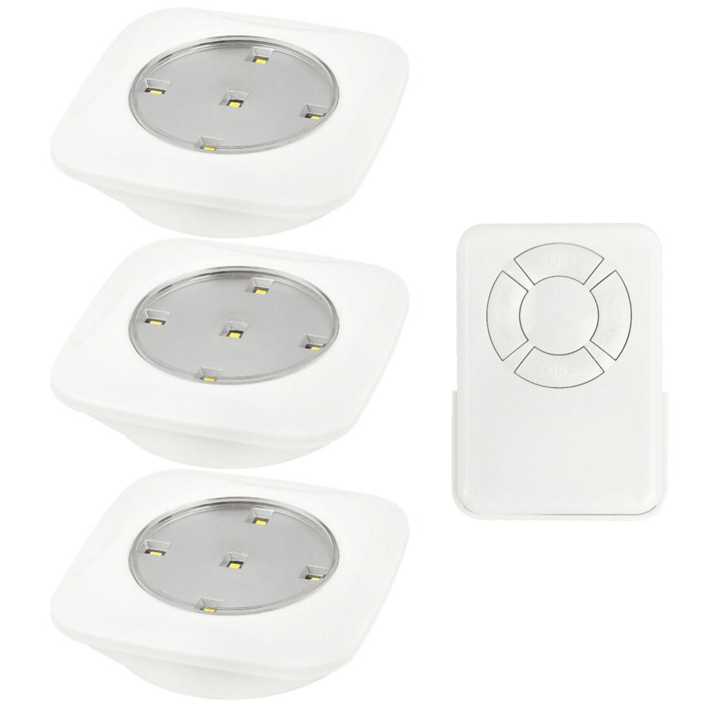 Modern Square Shape Wireless Remote Control LED Puck Living Room Bright Night Lights 3 Lamps