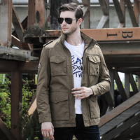 Negócio jaqueta casual dos homens estilo Britânico 2016 primavera e no outono forro xadrez simples selvagem casaco masculino Outerwear Roupas Do Exército