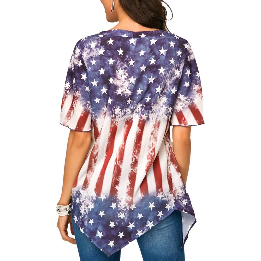 Independence Day Printed Women Blouse Plus size V Neck Asymmetrical hem Tops Loose Tunic summer Blouses Femme Shirt blusas 4