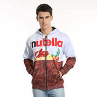 New Autumn Winter Men Women Hoodies With Cap Print Nutella Food Hip Hop Zipper Hooded 3d