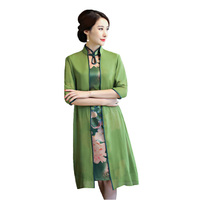 Flower Sexy Women Two Piece Qipao Traditional Chinese Dress Vintage Elegant Mandarin Collar Cheongsam M L