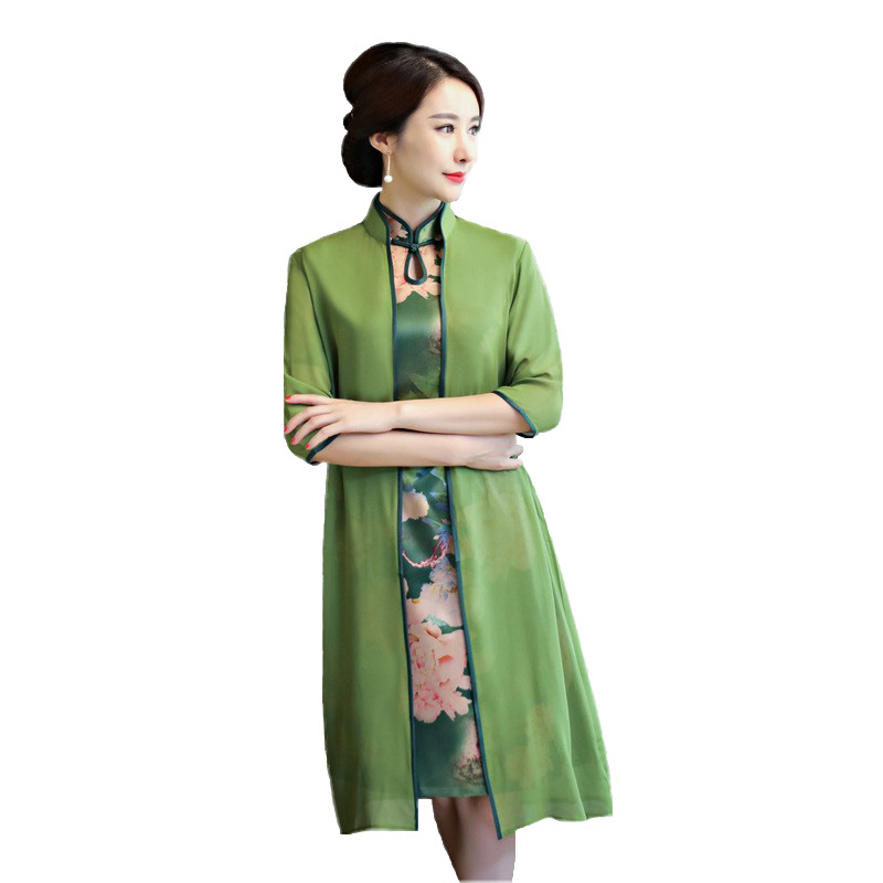 Flower Sexy Women Two Piece Qipao Traditional Chinese Dress Vintage Elegant Mandarin