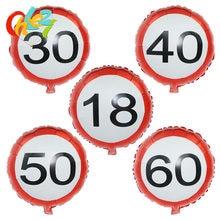 5 peças 18 polegadas número de balões, de aniversário 18 30 40 50 60 aniversário festa de casamento feliz aniversário decoração chuveiro