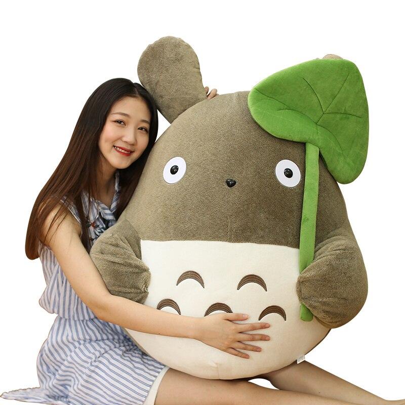 Kawaii Anime Totoro pluszowe lalki duży japoński Cartoon lotosu liść Totoro zabawki poduszki dzieci prezent urodzinowy dziewczyna prezenty 43 cal 110 cm w Filmy i telewizja od Zabawki i hobby na  Grupa 1