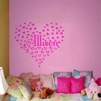 Diamond Embroidery Personalized Named Heart Shaped Wall Stickers Custom Paste Shape Position Name Baby Girl Bedroom