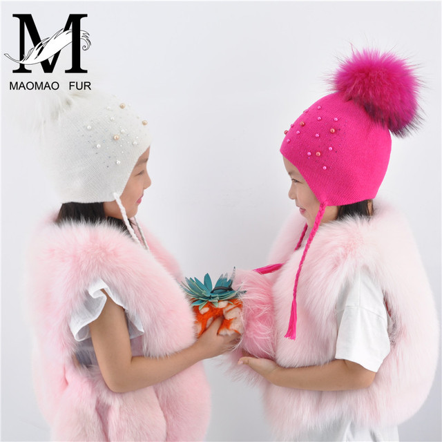 Kids Fur Pom Pom Hat Winter Warm Real Big Fur Ball Braid Hat Children Elasticity Knit Beanie Hats Girls Boys