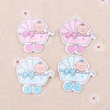 Azul/rosa bebê transporte padrão scrapbooking artesanato diy enfeite para costura artesanal decoração para casa 36x36mm 20 peças