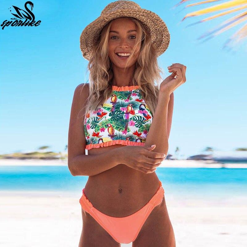 b569436d44 High Neck Bikinis 2019 Sexy Swimwear Swimsuit Women Push Up Bathing Suits  Beach Wear Brazilian Bikini