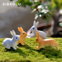 1 pc Running Rabbit Miniature Figurine Sitting Hare DIY Accessories House Decoration Simulation animal models plastic girl toy