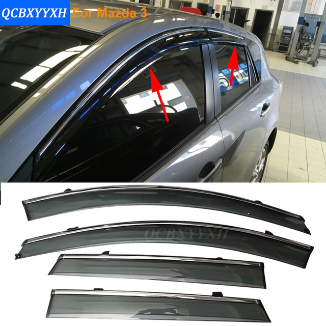 Car Stylingg Awnings Shelters 4pcs/lot Window Visors For Mazda 3 Hatchback/ Sedan 2007-2016 Sun Rain Shield Stickers Covers