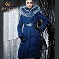 SALCO Frete grátis Em 2016 ms lançamentos de produtos em o inverno quente de manga longa gola de raposa longo casaco com capuz para baixo
