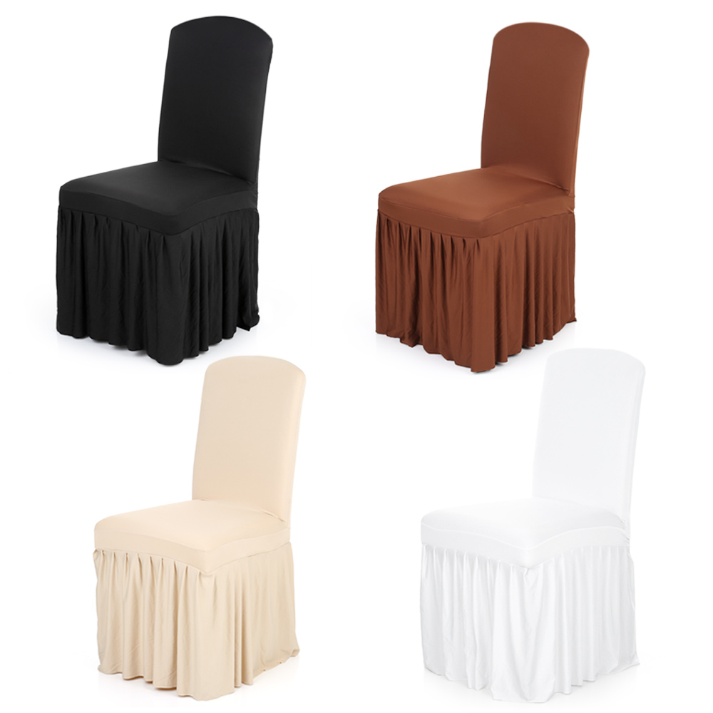 Ruffled Chair Cover Stretchable Washable Home Dining Spandex Seats Slipcover Wedding Decor For Hotel Room