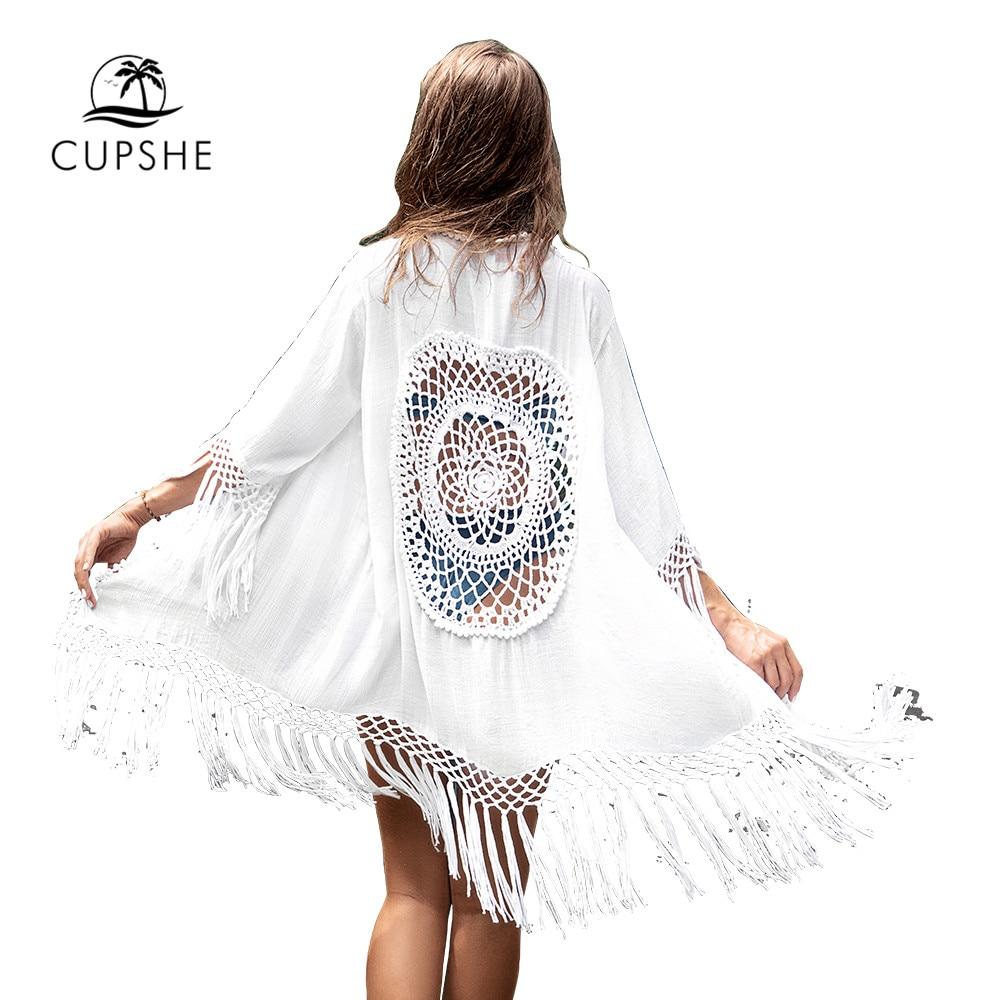 CUPSHE White Tassel Crochet Bikini Cover Up Sexy Back Cut Out Kimono Women 2020 Beach Bathing Suit Beachwear Tunic Shirt 3