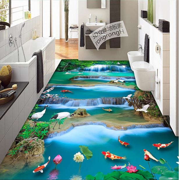 ФОТО High quality 3d flooring vinyl custom 3d floor painting water landscape non-slip wear thickend self-adhesive wallpaper