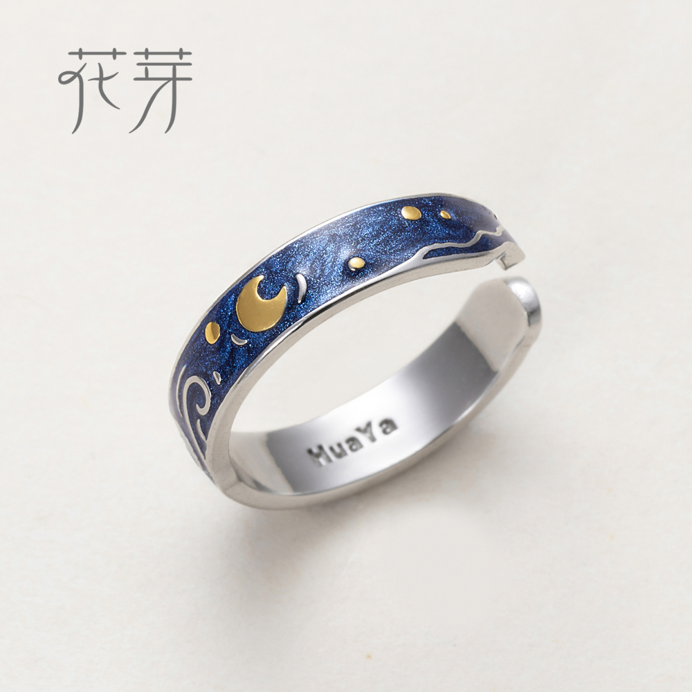 Thaya Genuine s925 Silver Ring Van Gogh's Glitter Deer Sky Gold Moon Star Finger Ring bohemian Vintage jewelry for Women metal moon and star shap cuff ring