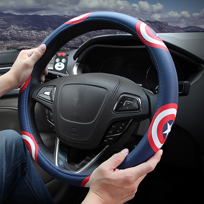 38cm Universal Star Cartoon Leather Car Steering Wheel Cover Cool Auto Steering Covers for Men Car Styling Accessories Blue