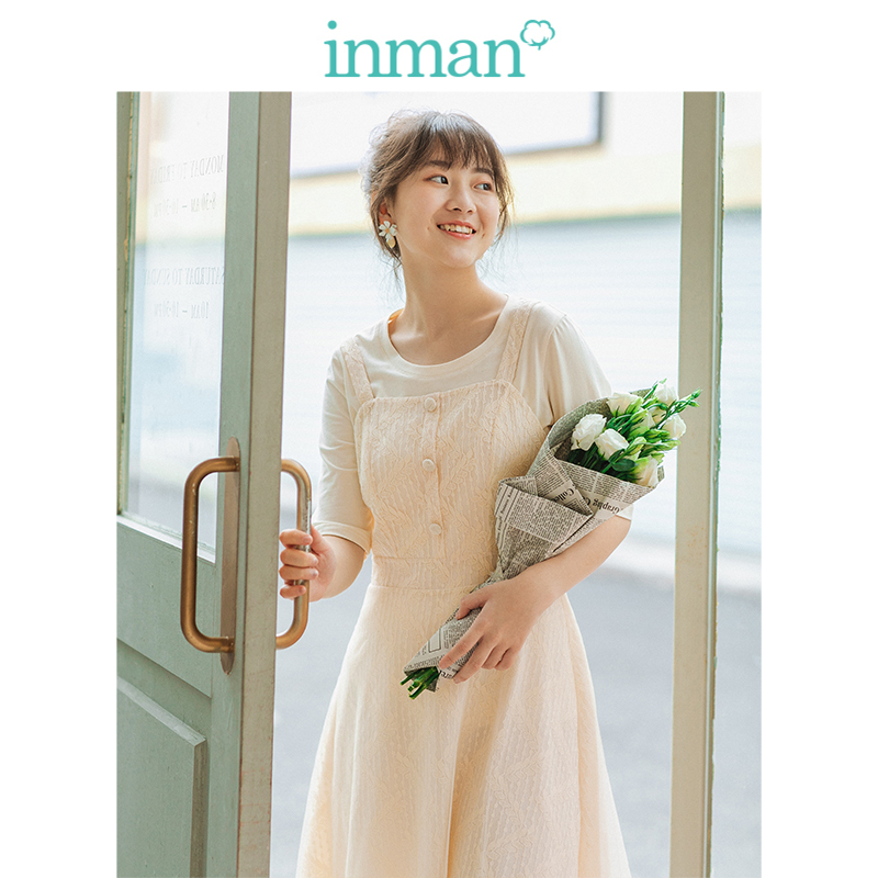 INMAN Summer Young Literary Style T-shirt Gallus Defined Waist Lace Dress Women Two Pieces Suit