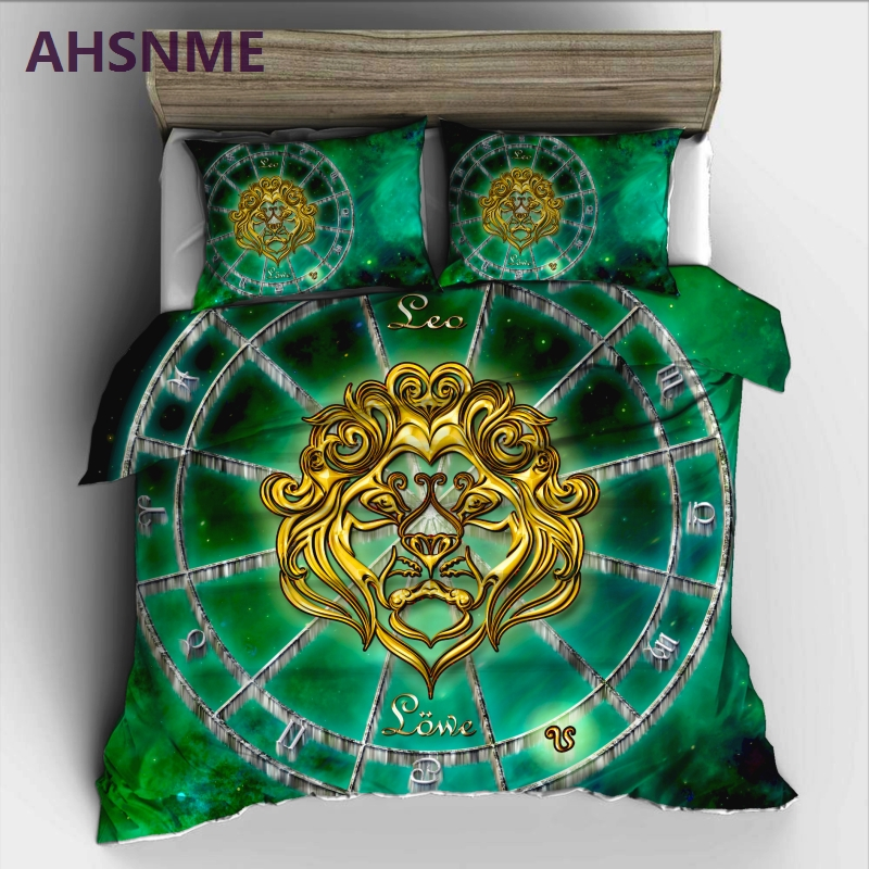 AHSNME 12 Constellation Leo Bedding Set High-definition Print Quilt Cover for RU AU EU King Queen Double Size jogo de camaAHSNME 12 Constellation Leo Bedding Set High-definition Print Quilt Cover for RU AU EU King Queen Double Size jogo de cama