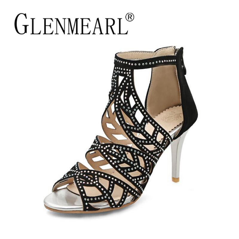 Women Sandals Summer High Heels Shoes Woman Brand 2018 New Fashion Thin Heels Gladiator Ladies Sandals Shoes Plus Size 34-43 brand shoes woman flock gladiator sandals women summer dress shoes lace up high heels fringe beach casual shoes ladies sandals