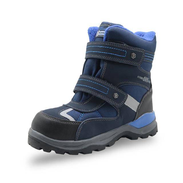 Apakowa Winter Boys Snow Boots Kids Waterproof Hook&loop Warm Woolen Ankle Boots with Reflective Strip Little Boys Hiking Shoes