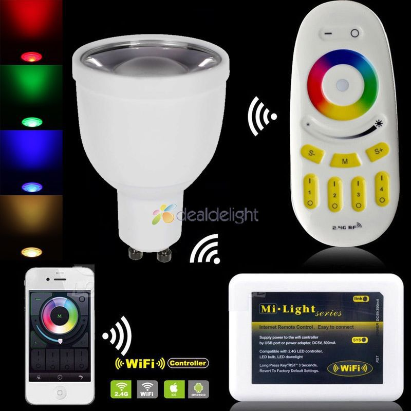 Mi.light 2.4Ghz 5W GU10 RGBW RGB+Cool/Warm White LED Spotlight Bulb + Wifi controller+Wireless RF Touch Remote by iOS Android wifi led bulb 7 5w rgb white dimmablelamp smart home for ios