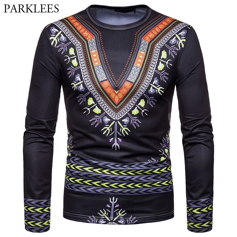 bebcbf7b884f African Dashiki T Shirt Men Fashion 3D Floral Printing Tee Shirt Homme  Harajuku Hip Hop Mens Tshirts Long Sleeve Brand Top Tees