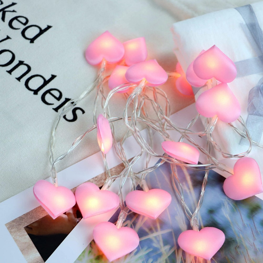 10/20 Hearts Garland LED String Light Battery Powered Fairy Lights Decoration For Wedding Children Gifts Room Bedroom Decor