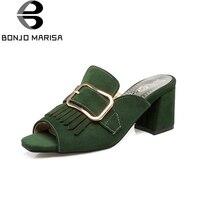 BONJOMARISA All'ingrosso Large Size 34-43 Fashion Square Tacchi Alti Muli Estate Pompe Scarpe Da Donna Top Quality Calzature
