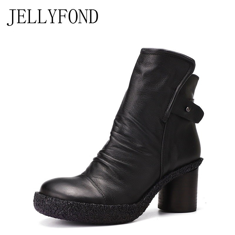 JELLYFOND Retro 2018 Handmade Genuine Leather Ankle Boots for Women Back Buckle Platform High Heels Boots Designer Winter Shoes jellyfond designer autumn winter shoes woman 2018 handmade genuine leather big bow platform high heels ankle boots chelsea boots
